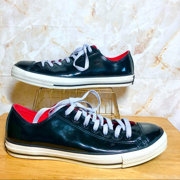 CONVERSE Black Leather All Stars Low-Top Sneakers